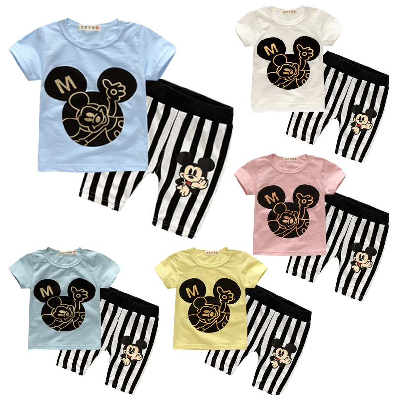 Summer Baby Boy Clothes Set Cotton Short-sleeved Mickey T-shirt+striped pants 2pcs Newborn Baby Girl Clothing Set Sport Suits 2017 newborn baby boy clothes summer short sleeve mama s boy cotton t shirt tops pant 2pcs outfit toddler kids clothing set