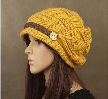Free shipping 1pcs woman knitting earmuffs hat fashion winter pure manual warm cap four color Christmas gift in Women 39 s Bomber Hats from Apparel Accessories