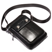 CHEZVOUS Universal New Leather Wallet Mobile Phone Bag For Samsung/iPhone/Huawei/HTC/LG Pocket Bag Small Shoulder Cover Black