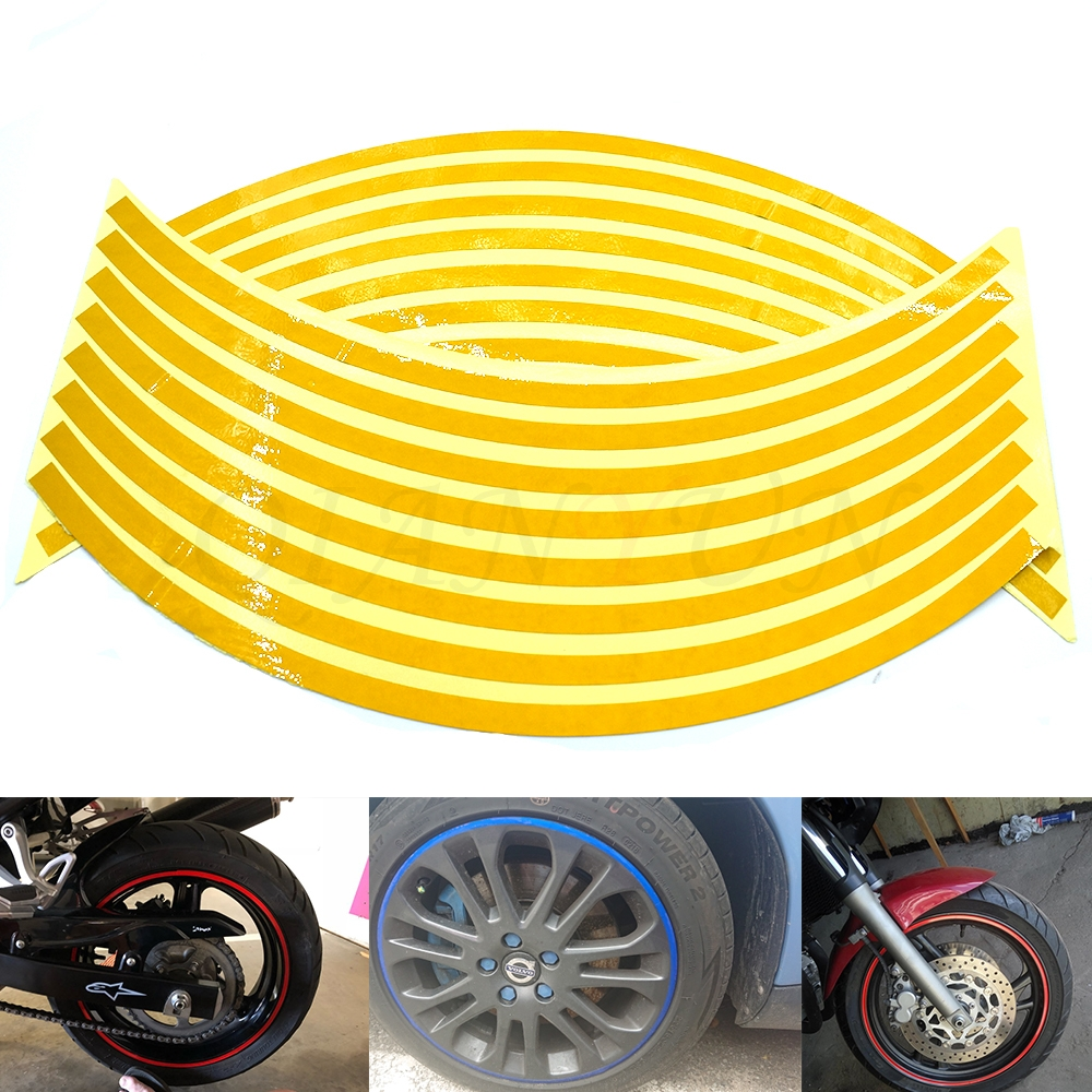 Motobike Car Accessories Motorcycle Wheel Tire Reflective Rim Stickers And Decals Decoration Stickers17/18inch Wheel
