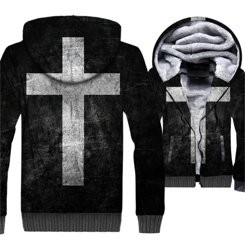 Cross Hoodies Men 3D Love and Redemption Sweatshirts 2018 Hipster Winter Thick Fleece Warm Zipper Cool Coat Hip Hop Jackets 5XL