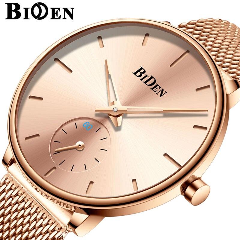 BIDEN Fashion Women Watches Top Brand Luxury Quartz Ladies Casual Slim Mesh Steel Dress Watch Simple Clock Relogio Feminino