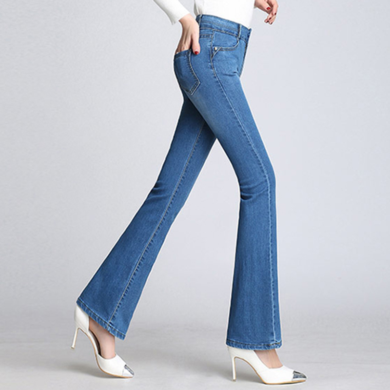 Flare Jeans Woman Korean Style High Waist Denim Pants Fashion Women Vintage Plus Size Jeans Pants Spring Autumn Slim Trousers
