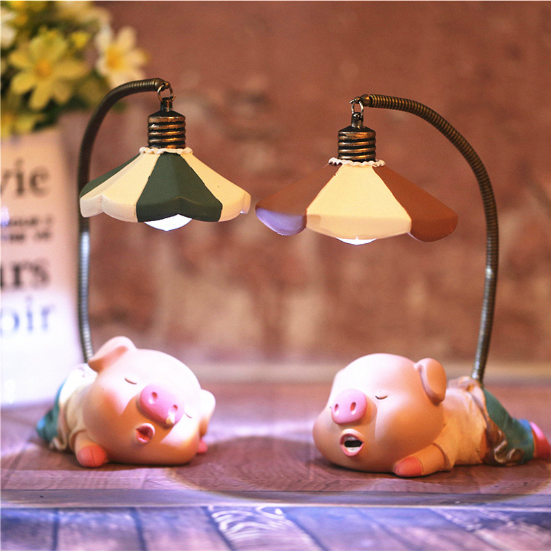 Resin Cute Pig Model Figurines Fairy Animal Miniatures Living Room Bedroom Night Light Garden Home Decoration Crafts Gifts