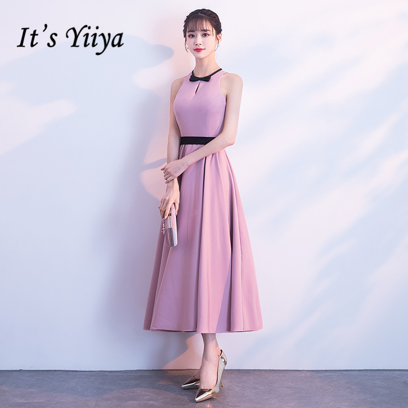 It's YiiYa Cocktail Dresses Elegant Pink O-neck Tie Bow Party Gowns Simple Tea-length Sleeveless Zipper Back Formal Dress E405