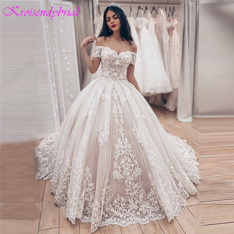 Lace Robe Ball-Gowns Bride Dress Sweetheart De-Mariee Princess Luxury QFS096 No Vestido-De-Noiva title=