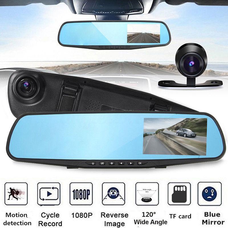 4.3 ''FHD 1080 P Dual Lens Car Auto Specchio DVR Dash Cam Recorder Specchio Retrovisore di Visione Notturna Dvr + Rear View Camera Camcorder