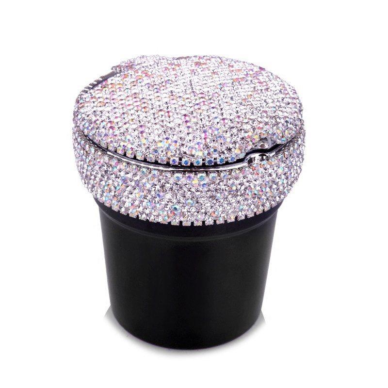 Portable Car Ashtray With LED Light Crystal Rhinestones Diamond Car Ash Tray Ashtray Storage Cup Holder For Girls Woman R449