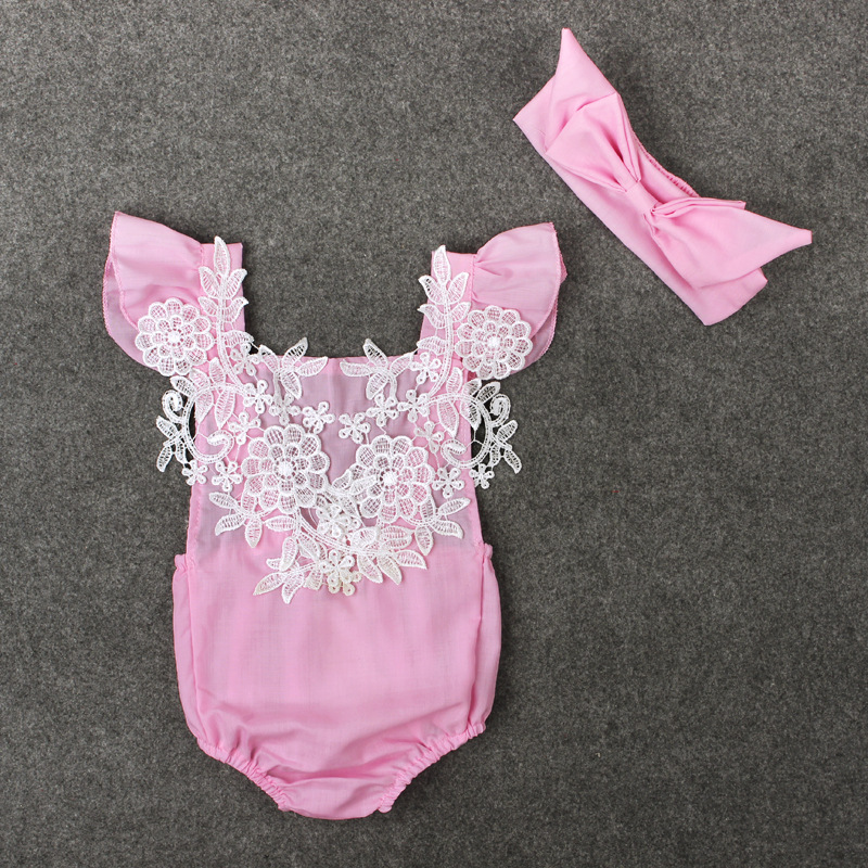ff819d1e6fed Fashion Baby Romper Pink Lace Rompers Summer Infant Clothes Newborn Baby  Clothes Baby Girls Outfits 2PCS-in Rompers from Mother & Kids on  Aliexpress.com ...