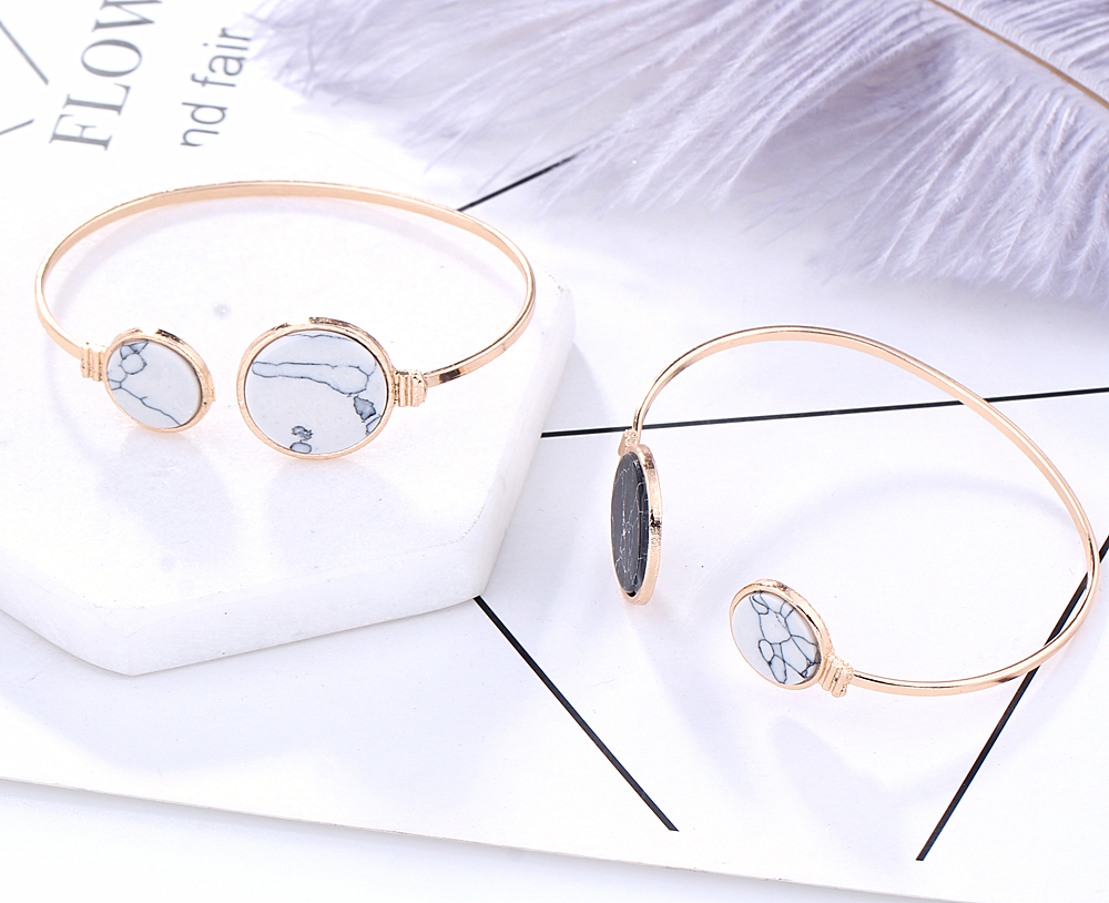 L H New Vintage Female Charm Bracelet 2018 Classic Hot sales Black White Color Acrylic Opening Bangles for women fashion jewelry in Bangles from Jewelry Accessories
