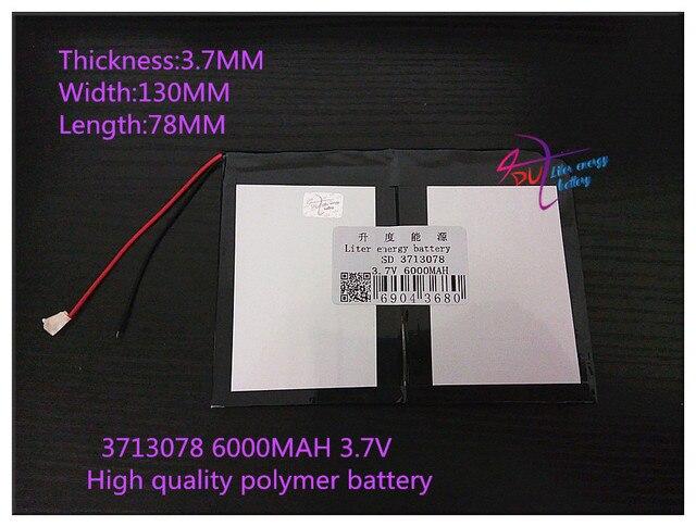 3.7 В 6000 мАч 3713078 Полимер литий-ионный/Литий-Ионный аккумулятор для tablet pc mp3 mp4 GPS мобильного телефона динамик