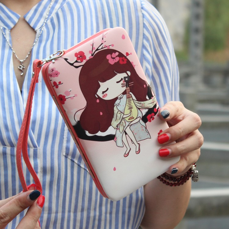 2018 Multi-Function Mobile Phone Bag Lunch Box Wallets Women Long Purses Lady Fashion Cartoon Small Girl's Money Card Holder #30