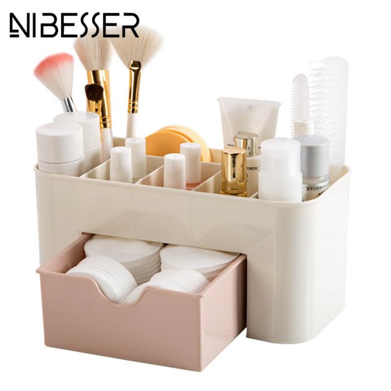 NIBESSER 2017 Women Cosmetic Case Make Up Toiletry Kit Storage Case Plastic Makeup Brush Box Lipstick Travel Makeup Organizer beauty inflatable lighting tree