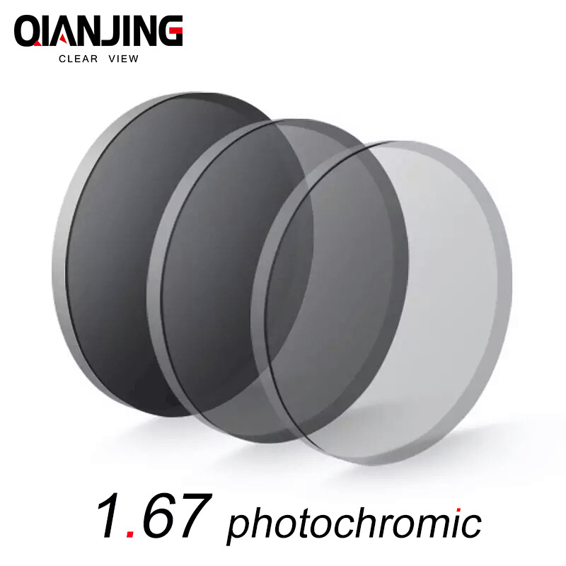 QIANJING 1.67 index photochromic grey lens myopia presbyopic prescription aspheric hard resin lenses UV protection thin clear