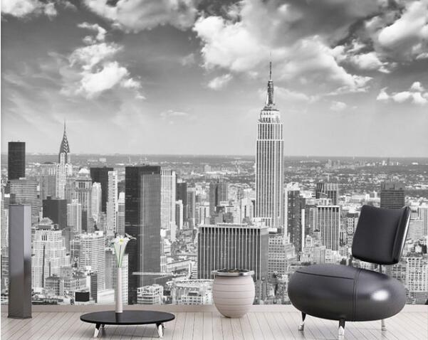 Us 604 45 Offpapel Murals Wall Paper Blackwhite New York City Scenery 3d Photo Mural Wallpaper For Living Room Background 3d Wall Mural In