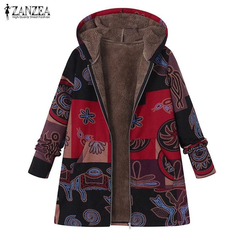 ZANZEA 2019 Winter Women Plush Fluffy Casual Hooded Long Sleeve Warm Jacket Coat Plus Size Faux Fur Vintage Printed Outerwear