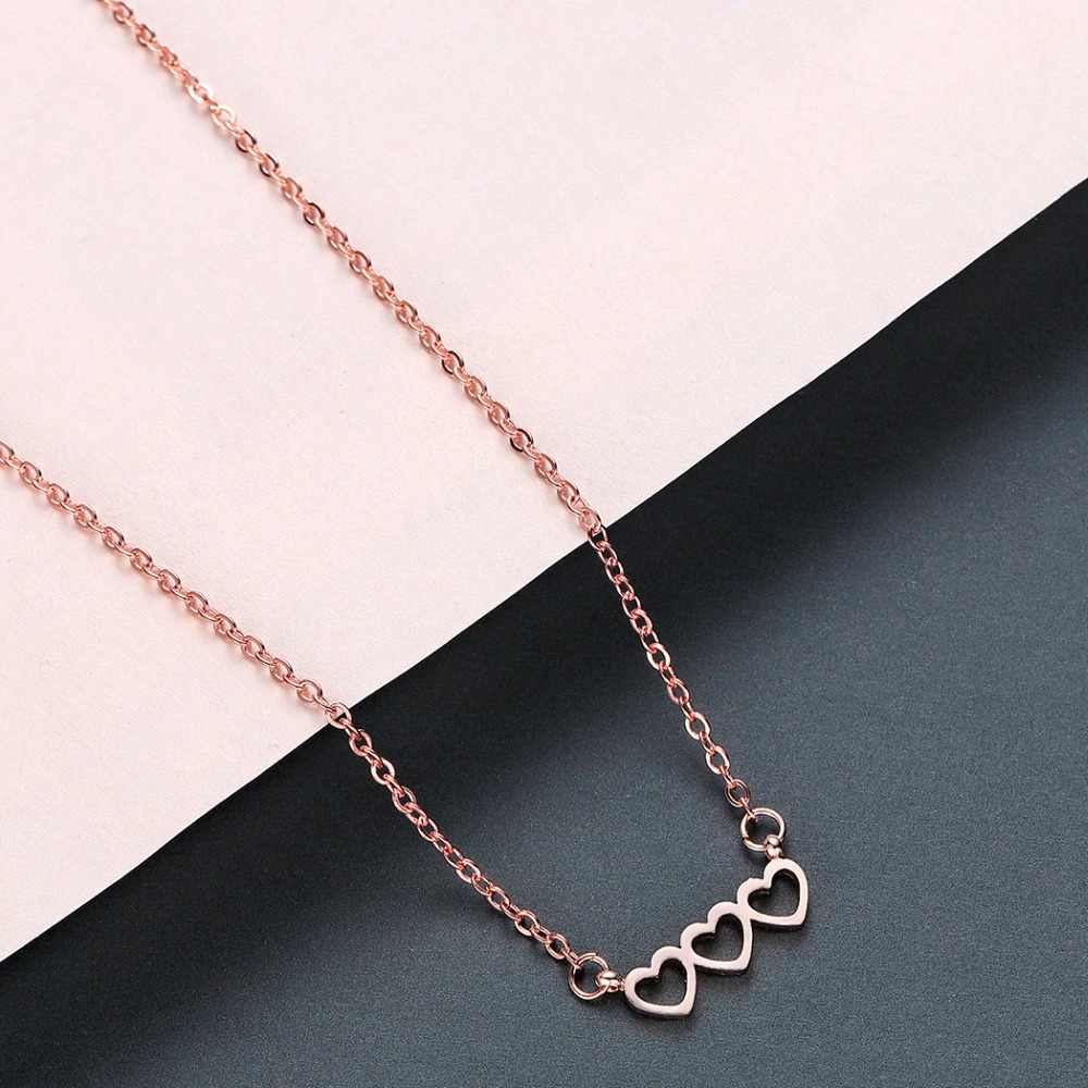 Chandler Stainless Steel Triple Love Necklace Fashion Rose Gold Color Three Heart Together Forever Romantic Loving Jewelry
