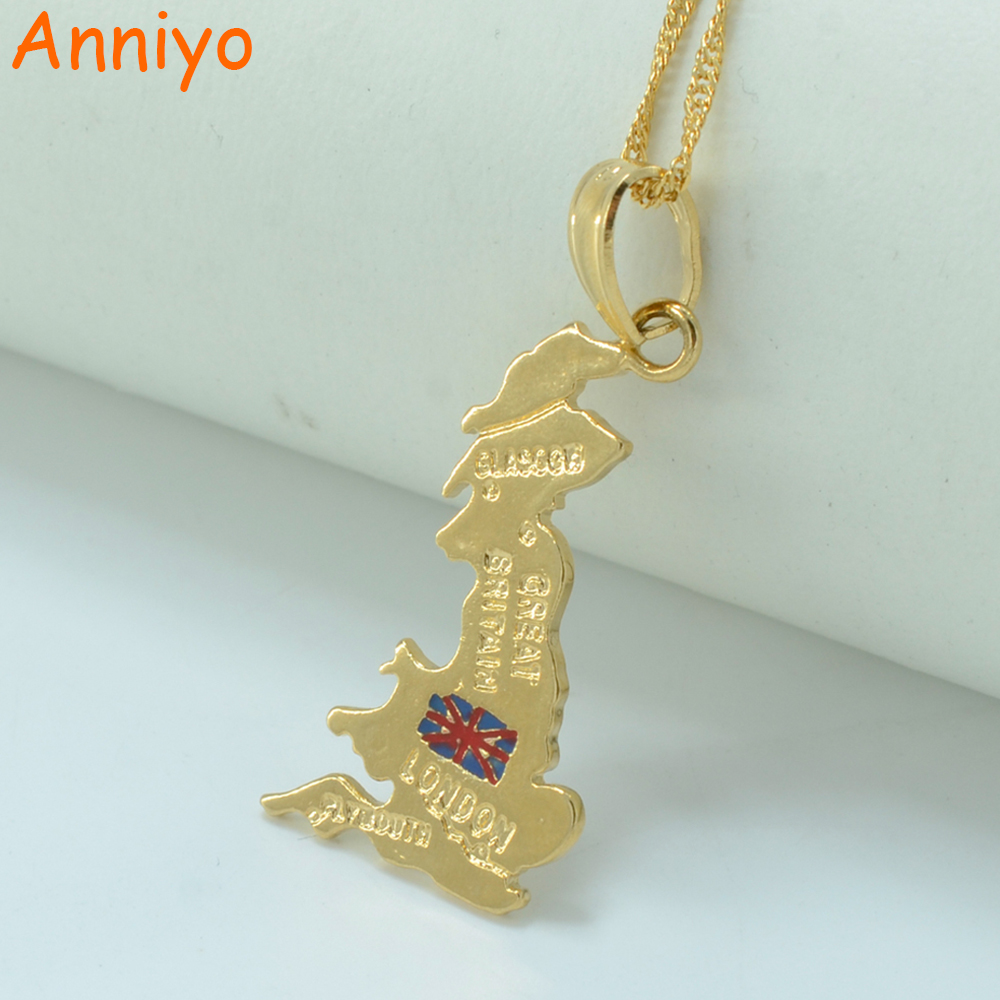 Anniyo Pendant:3.5cm x 2cm / United Kingdom map pendant necklace british gold color UK Great Britain/Northern Ireland jewelry