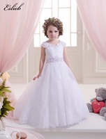 Stunning Lace Appliques Sleeveless Long Train Ruffles Holy Communion Infant Girls Dresses Kids Prom Tulle Ball