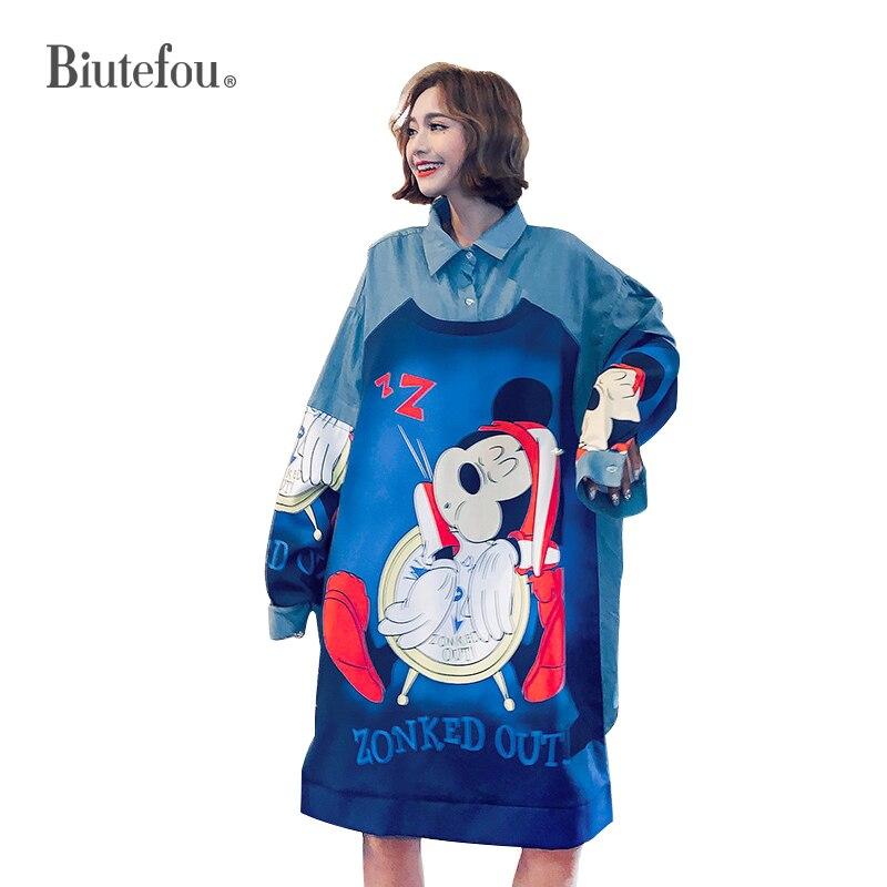 2019 New arrival women autumn sequins dresses cartoon print graffiti long dresses