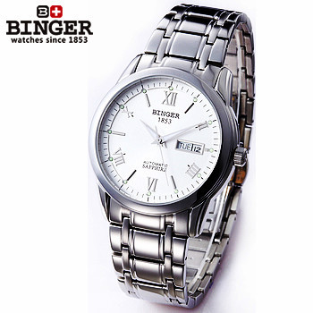 2017 New Arrive Luxury Brand Binger LOGO ROMAN Dial White Gold Stainless Steel Band Dress Wrist Watch for cool Man Watches