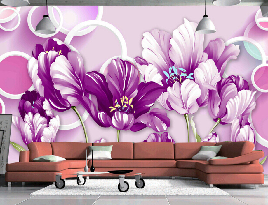 Custom Nature wallpaper,Circles and painted purple tulips,3D stereoscopic wallpaper for living room bedroom embossed wallpaper custom baby wallpaper snow white and the seven dwarfs bedroom for the children s room mural backdrop stereoscopic 3d