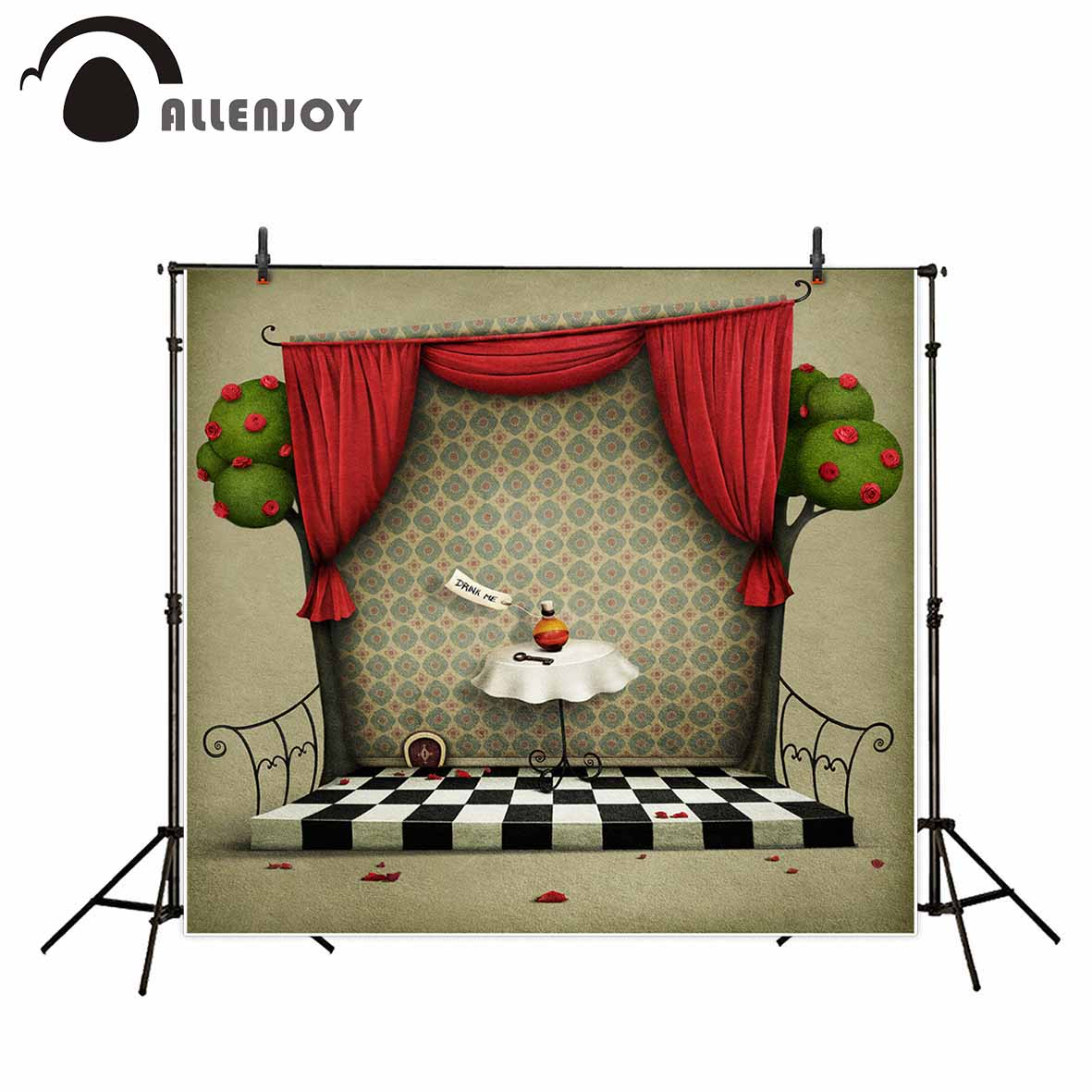 Allenjoy photographic background Cartoon puppet stage black and white lattice fairy tale new backdrop photocall photo customize