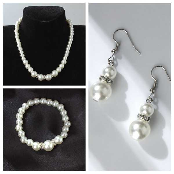 European and American classic shambhala crystal pearl necklace earrings set wholesale