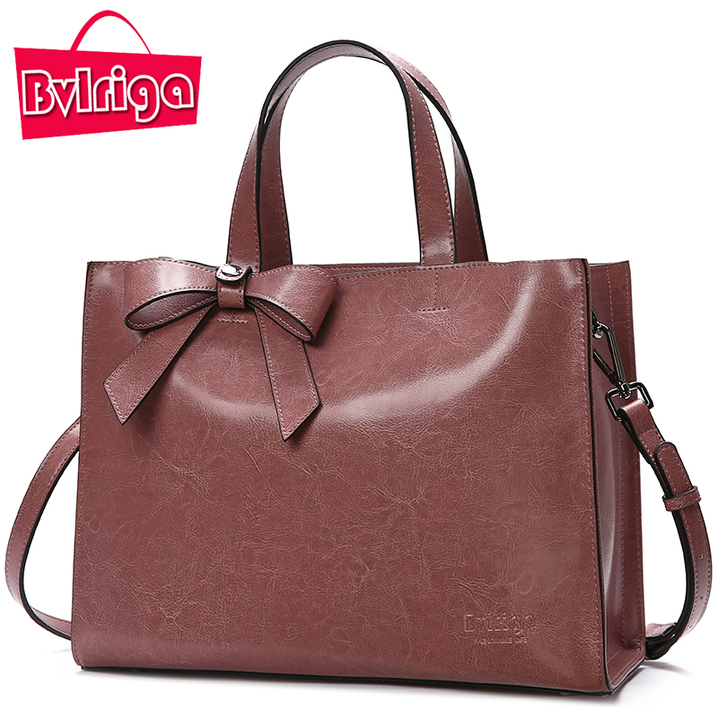 Bvlriga Genuine Leather Bag Female Handbag Women Bag Famous Brand Shoulder Crossbody Bags Women Messenger Bag Tote Bow Tie Big