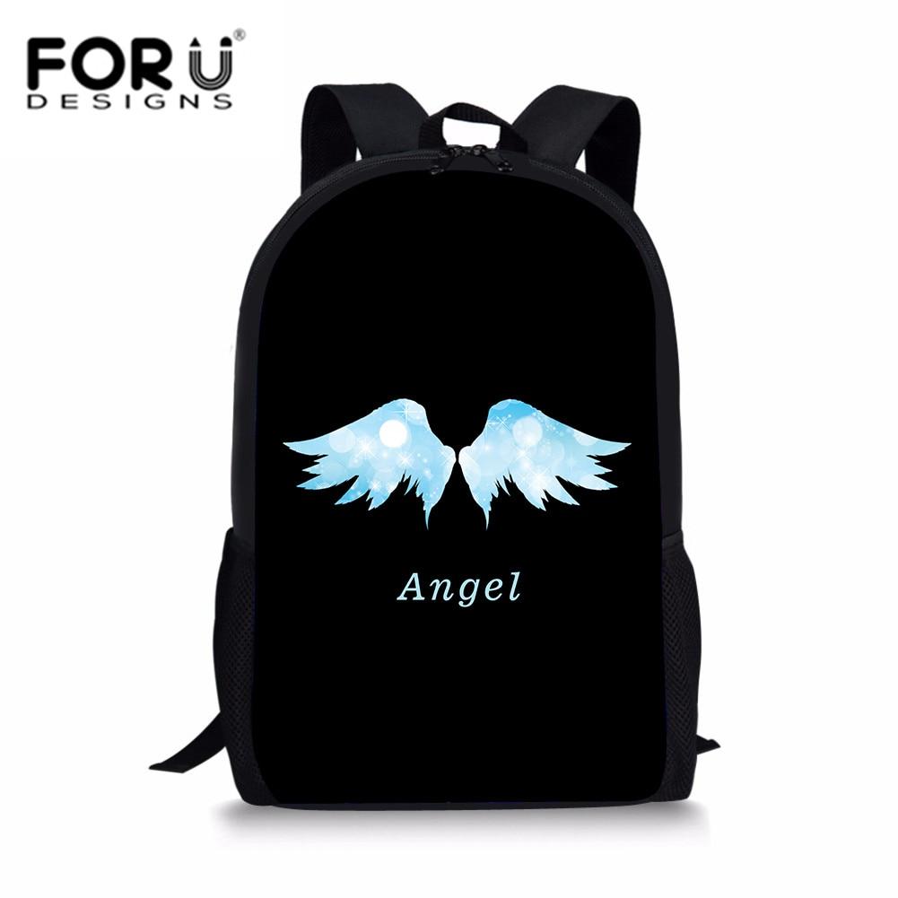FORUDESIGNS Lovely Wings Printing School Backpack Women Bag For Teenager Girl Casual Cute Rucksack Angel Satchel Bookbag