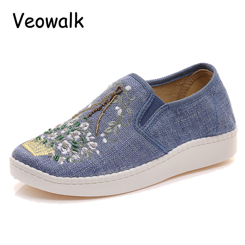 Veowalk New Flowers Embroidered Women's Linen Canvas Slip-on Loafers Comfort Fabric Ladies Classic Low Top Casual Flat Shoes flowers branch embroidered chinoiserie fabric corset belt