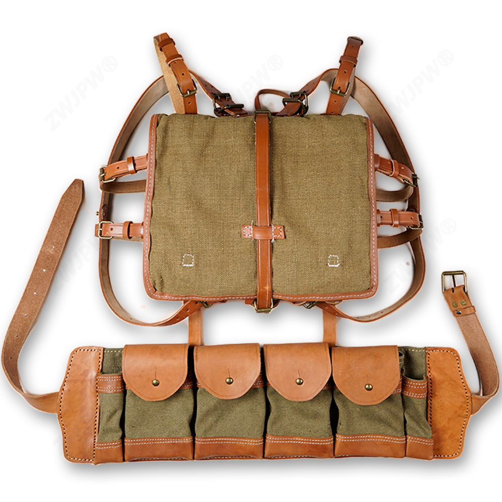 WW2 CHINESE ARMY KMT PACKAGE FIELD WITH WOODEN FRAM WITH KMT Czech AMMO POUCH fram ph6355
