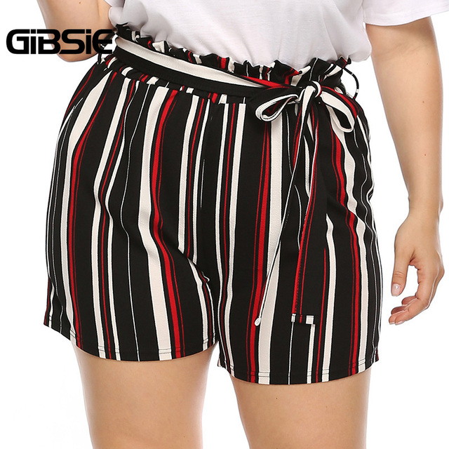 GIBSIE Plus Size New Fashion Bow Striped Shorts Women's Summer High Waist Shorts 2019 Female Casual Straight Shorts with Belt 3