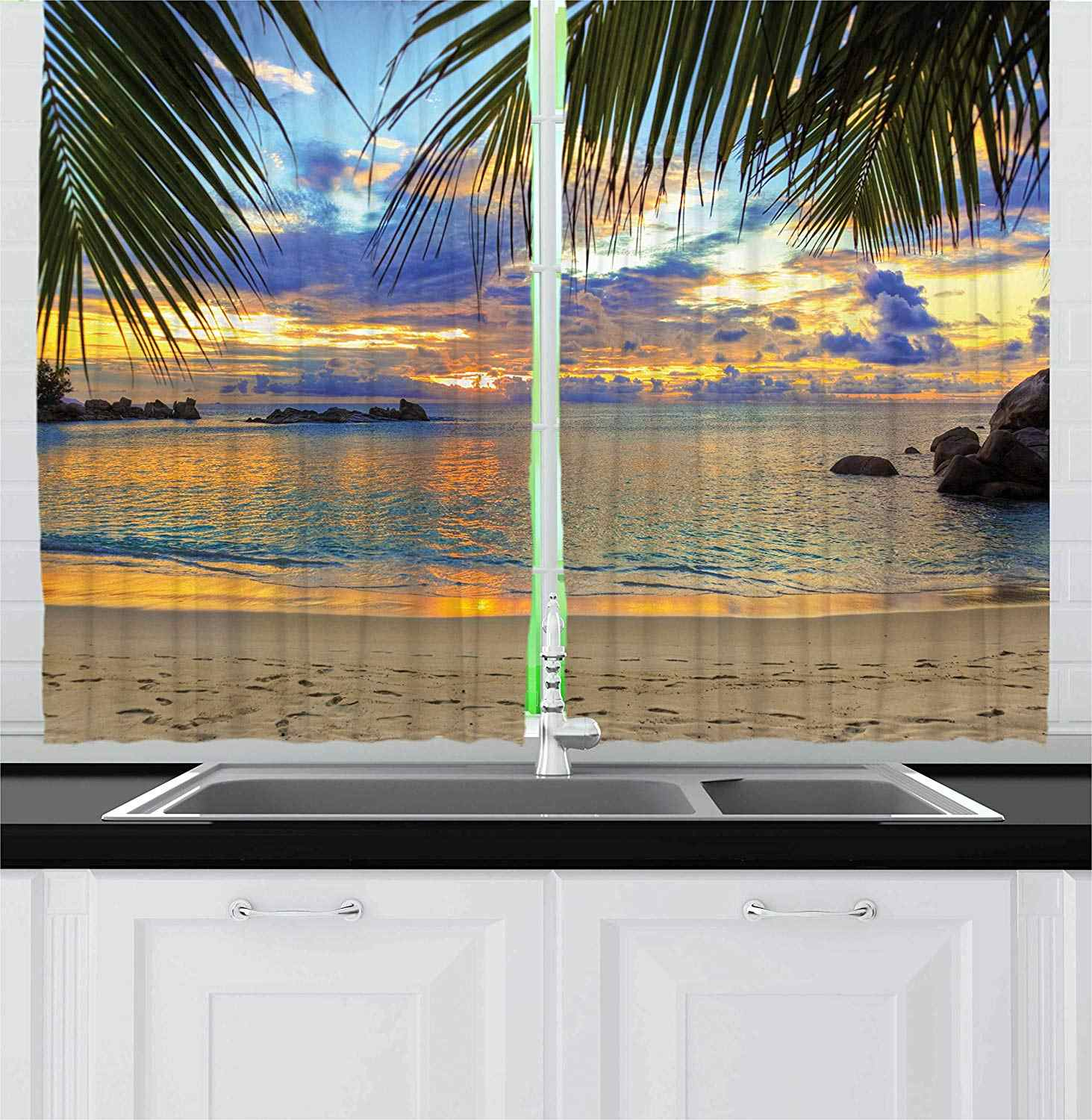Tropical Kitchen Curtains Exotic Beach in Sundown Hawaii Palm Trees Foliage Idyllic Summer Nature Photography Window Decor