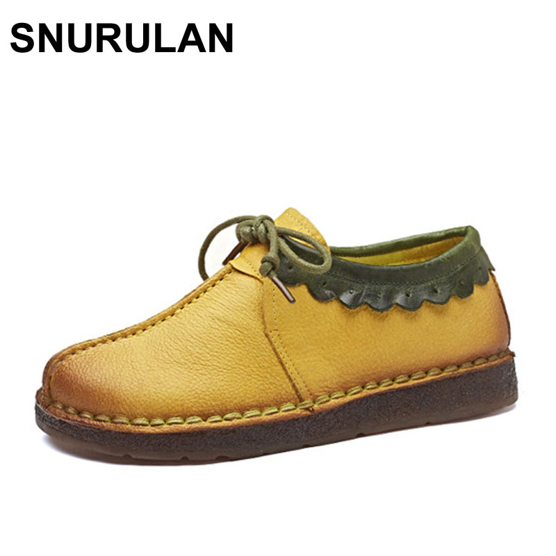 SNURULAN Fashion Loafers Women Shoes Genuine Leather Shoes Handmade Soft Comfortable Flat Shoes Woman Casual Shoes Women Flats free shipping fashion summer 2017 new women shoes casual genuine leather flat shoes breathable soft comfortable