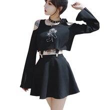 be70e6b77633501 Harajuku женское платье ручной розы Вышивка черный короткий  мини-ТРАПЕЦИЕВИДНОЕ ПЛАТЬЕ в стиле панк женские