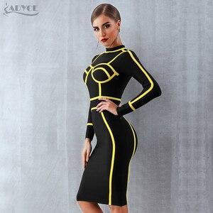 Image 5 - Женское короткое вечернее платье ADYCE, черное облегающее платье гольф с длинным рукавом в стиле звезд, для клуба, для зима, 2019