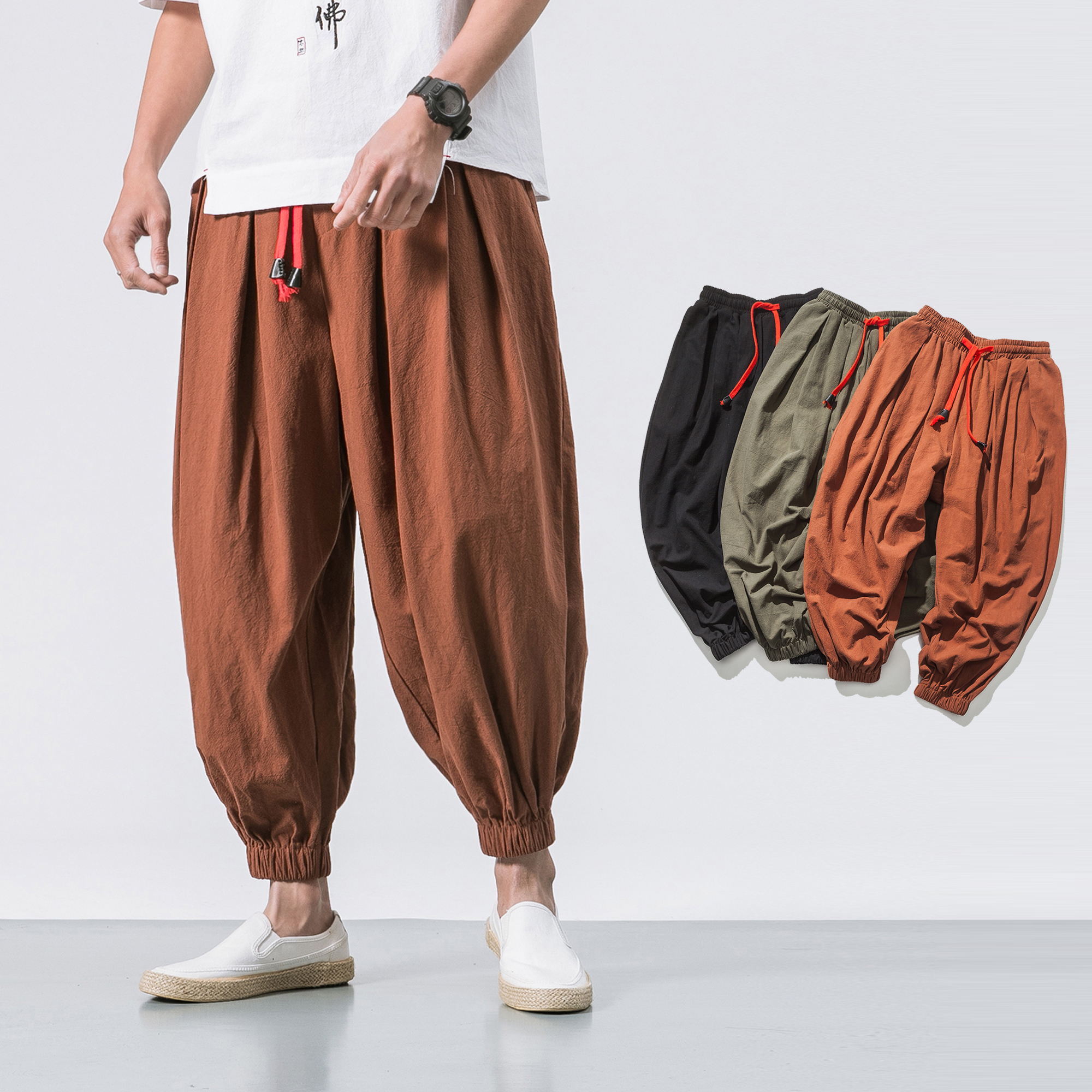 4aa0f1dd46b Detail Feedback Questions about Japanese cotton flaxen trousers ankle  banded pants men loose harem Chinese style large bloomers linen  knickerbockers on ...