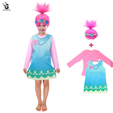 купить Trolls Poppy Costume Carnival Halloween Costumes for Kids Fancy Dress Girls Trolls Wig vestido de festa Girls Dresses Cosplay по цене 1042.1 рублей