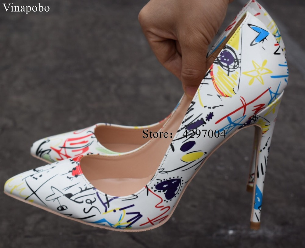 VINAPOBO Brand Shoes Woman High Heels Pumps White Graffiti High Heels 12CM Women Shoes High Heels Wedding Shoes Pump Big size 43