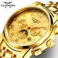 Часы мужские золотые GUANQIN римские часы мужские модные роскошные часы с Лунной фазой Дата месяц неделя светящиеся 24 часа дисплей часы