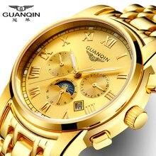 Guanqin reloj de los hombres de oro romana relojes de moda hombre reloj de lujo con La Fase Lunar Fecha Semana Mes Luminosos 24 Horas de Visualización reloj