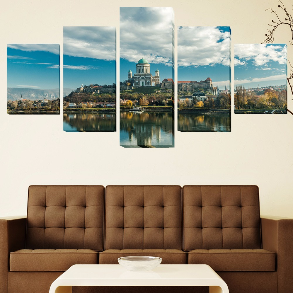5 panels wall art picture living room poster romanesque for Wall poster for living room