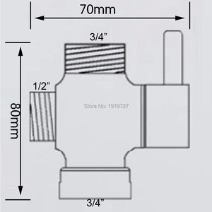 "Image 5 - Bagnolux Chrome Silver 3 Way Shower Head Diverter Valve  G3/4"" Three Way Copper adapter Valve for Toilet Bidet T  Adapter Valve"