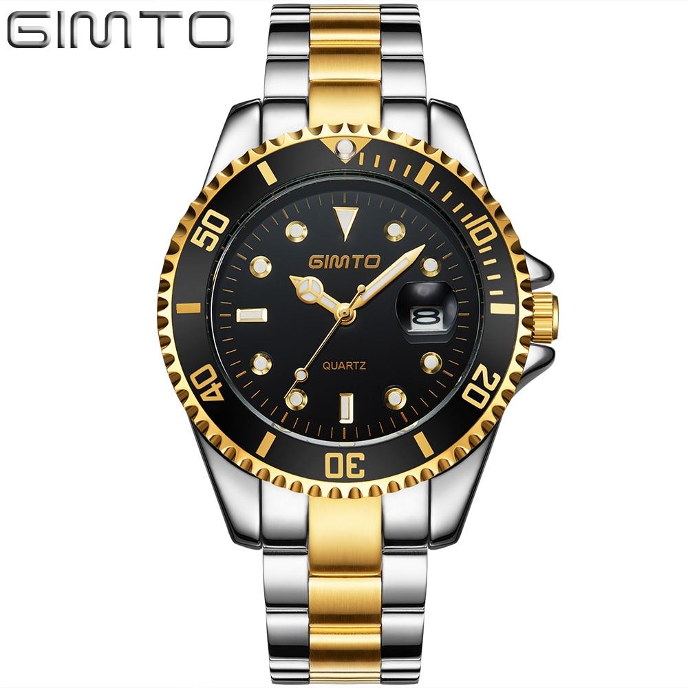 GIMTO Luxury Brand Quartz Men Watch Gold Steel Sports Luxury Wrist Watch Male Date Military Waterproof Watches relogio masculino цена и фото