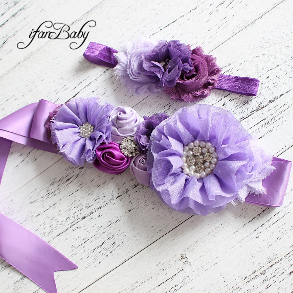 Fashion Lavender Purple Flower Beltgirl Woman Sash Belt Wedding