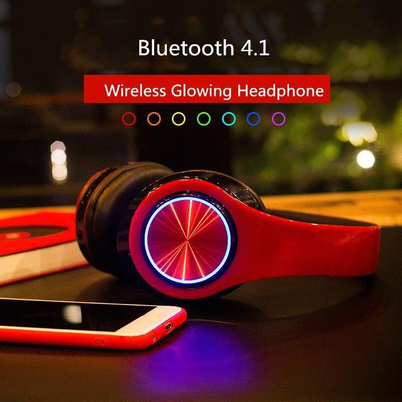 BH3 Glowing Headphones Bluetooth 4.1 Wireless Stereo Portable Foldable Headphone TF Card LED Light Wired Earphone Mic for Phone ewa e305 portable 5w wireless bluetooth v2 0 stereo speaker w mic tf white light grey