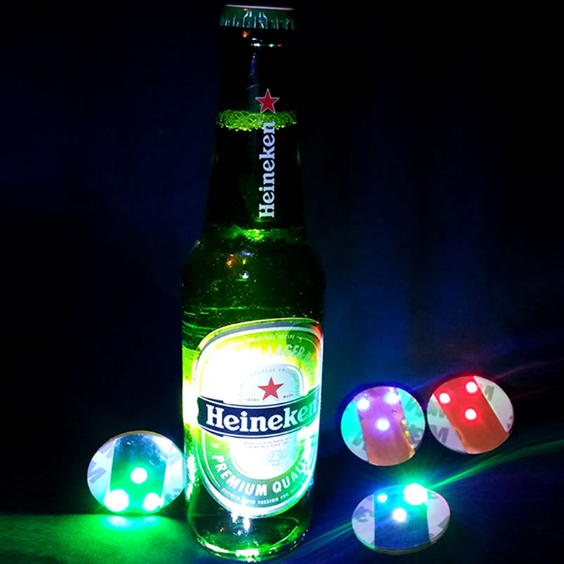10pcslot ultra thin bright light led bottle sticker coaster for 200pcs wholesale price 45cm led bottle light sticker coaster for bars night clubs cafe restaurants aloadofball Image collections