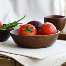 Large Round Wooden Salad Bowl Premium Acacia Wood Tableware Fruit Salad Food Serving Bowl Kitchen Wooden Utensils Wood Dishes