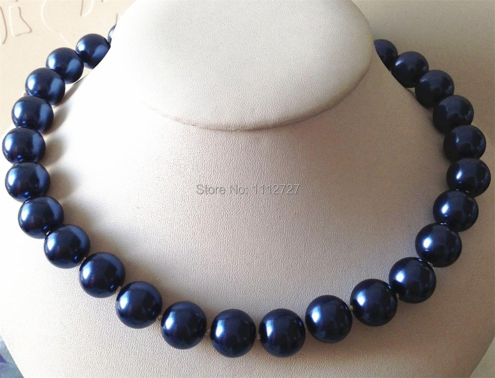 Noble! 14mm blue South Sea Shell Pearl Necklace Beads Jewelry Natural Stone DIY Fashion Jewelry Making Design 18 Wolesale Price